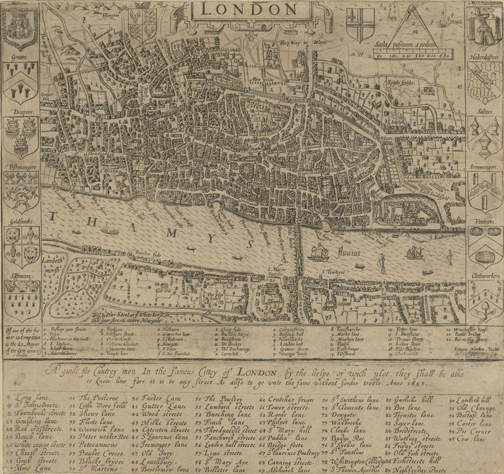 Historical Map of London by John Norden 1653